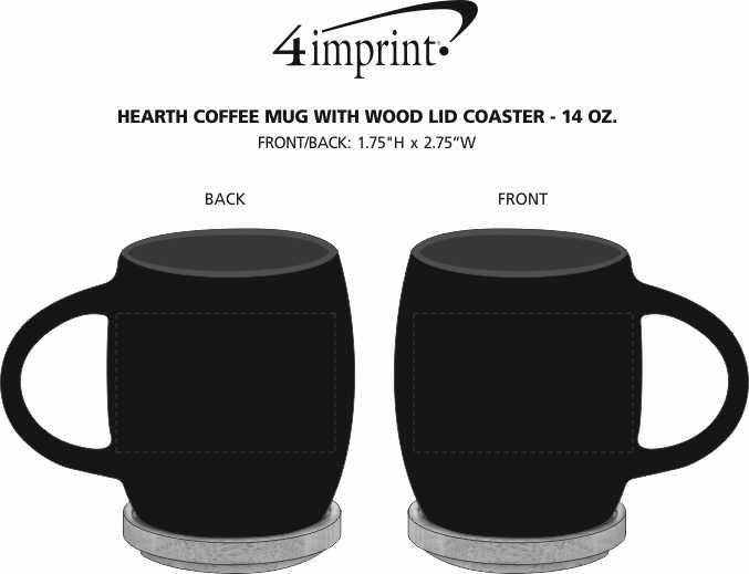 Imprint Area of Hearth Coffee Mug with Wood Lid Coaster - 14 oz.