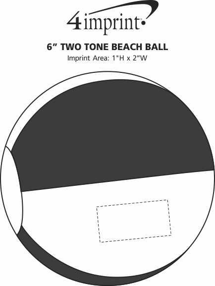 "Imprint Area of 6"" Two Tone Beach Ball"