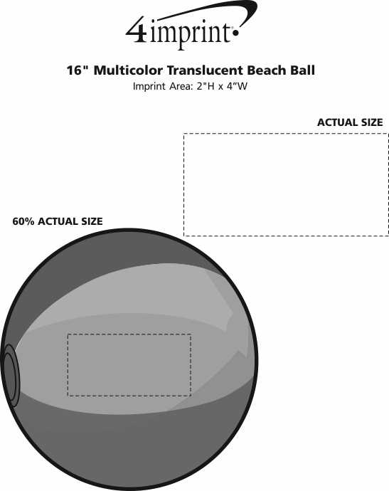 "Imprint Area of 16"" Multicolor Translucent Beach Ball"