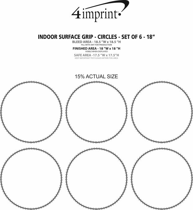 Imprint Area of Indoor Surface Grip - Circles - Set of 6 - 18""
