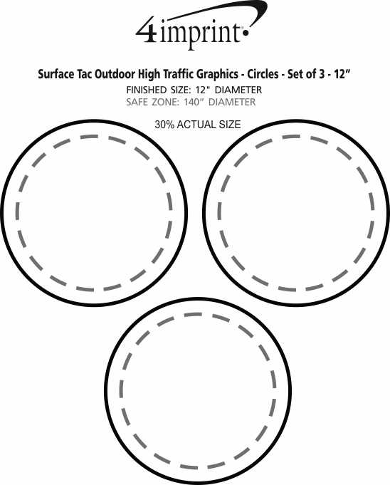 """Imprint Area of Surface Tac Outdoor High Traffic Graphics - Circles - Set of 3 - 12"""""""