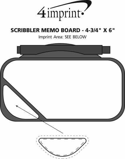 "Imprint Area of Scribbler Memo Board - 4-3/4"" x 6"""