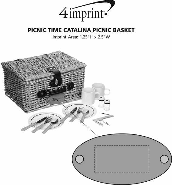 Imprint Area of Picnic Time Catalina Picnic Basket