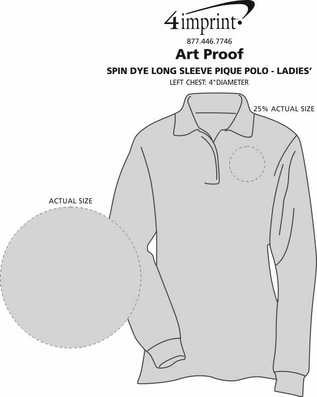 Imprint Area of Spin Dye Long Sleeve Pique Polo - Ladies'