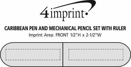 Imprint Area of Caribbean Pen and Mechanical Pencil Set with Ruler