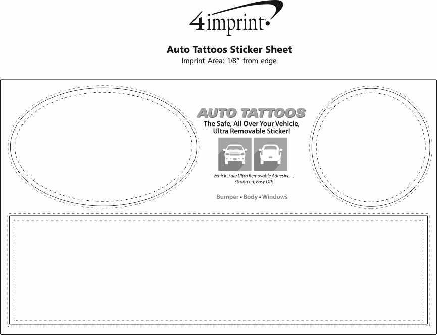Imprint Area of Auto Tattoos Sticker Sheet