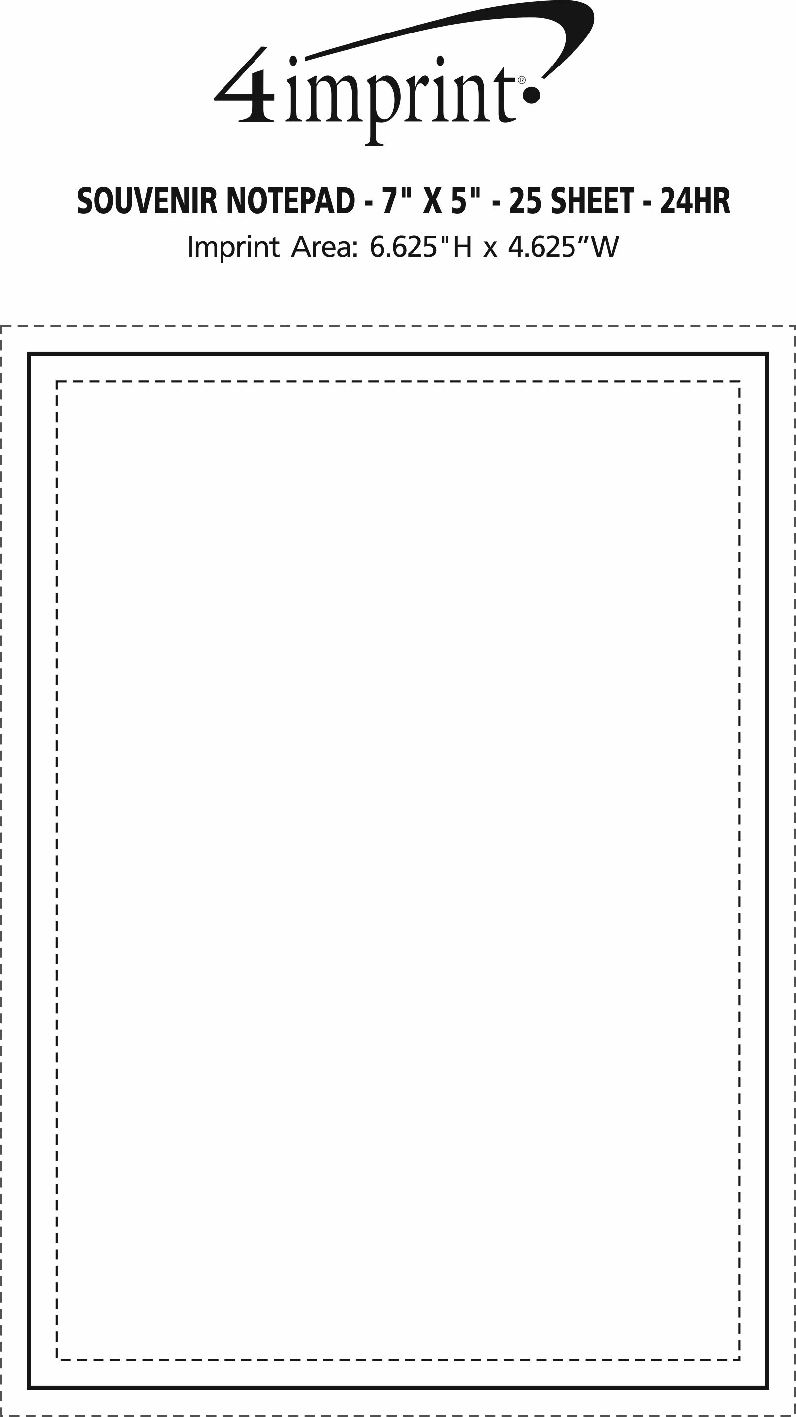 """Imprint Area of Bic Non-Adhesive Notepad - 7"""" x 5"""" - 25 Sheet - 24 hr"""