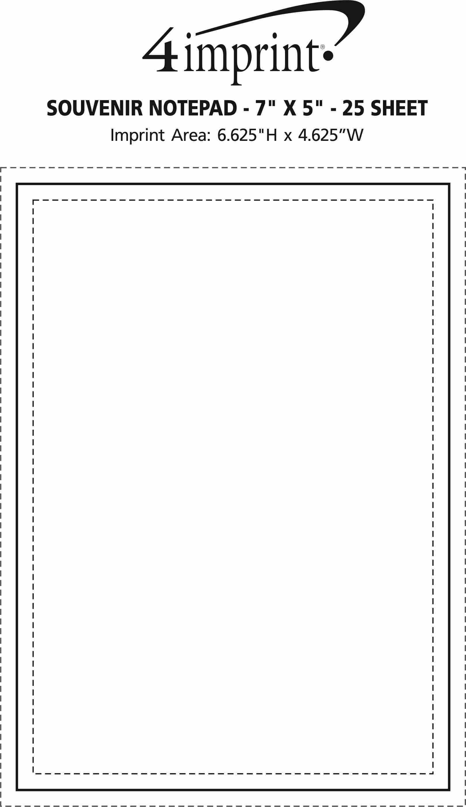 "Imprint Area of Bic Non-Adhesive Notepad - 7"" x 5"" - 25 Sheet"