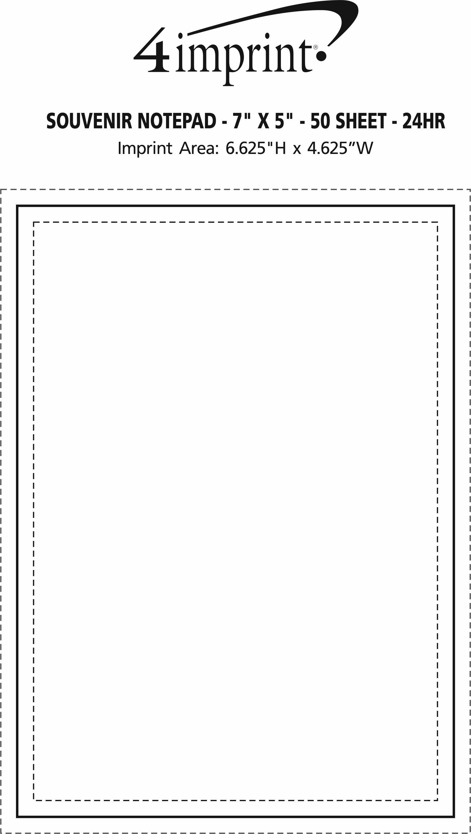 """Imprint Area of Bic Non-Adhesive Notepad - 7"""" x 5"""" - 50 Sheet - 24 hr"""