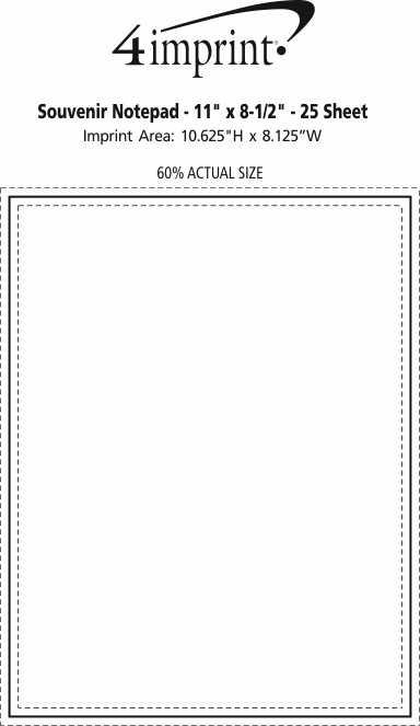"Imprint Area of Bic Non-Adhesive Notepad - 11"" x 8-1/2"" - 25 Sheet"