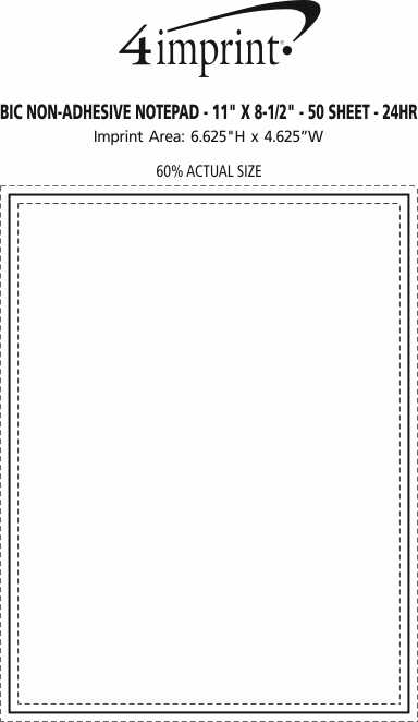 "Imprint Area of Bic Non-Adhesive Notepad - 11"" x 8-1/2"" - 50 Sheet - 24 hr"