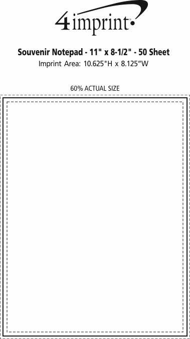 "Imprint Area of Bic Non-Adhesive Notepad - 11"" x 8-1/2"" - 50 Sheet"