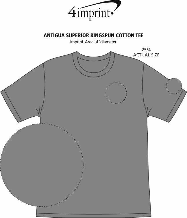 Imprint Area of Antigua Superior Ringspun Cotton Tee