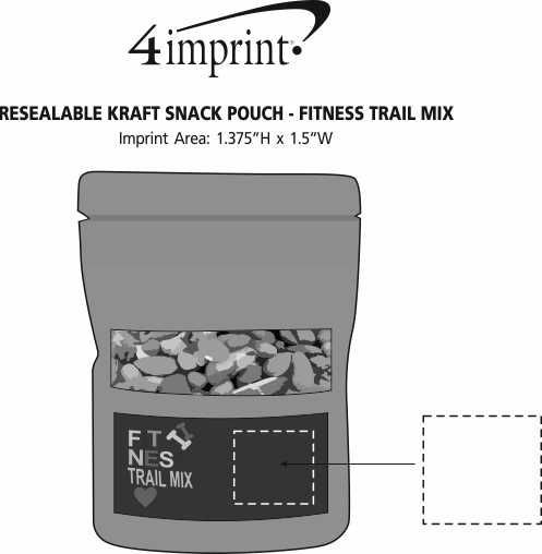 Imprint Area of Resealable Kraft Snack Pouch - Fitness Trail Mix