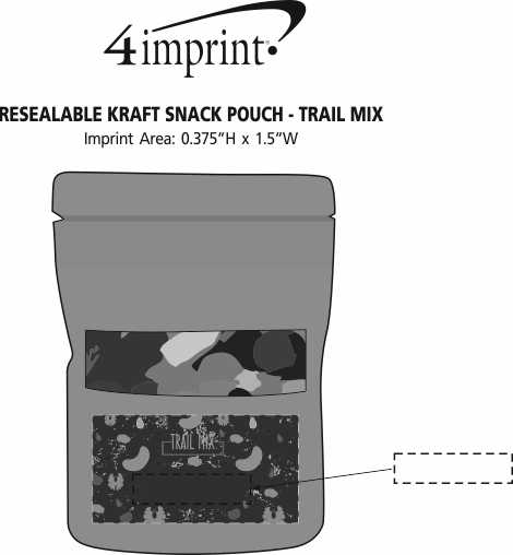 Imprint Area of Resealable Kraft Snack Pouch - Trail Mix