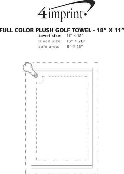 "Imprint Area of Full Color Plush Golf Towel - 18"" x 11"""