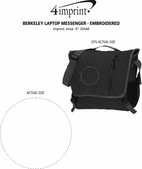 Imprint Area of Berkeley Laptop Messenger - Embroidered
