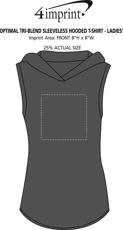 Imprint Area of Optimal Tri-Blend Sleeveless Hooded T-Shirt - Ladies'