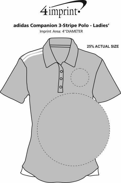 Imprint Area of adidas Companion 3-Stripe Polo - Ladies'