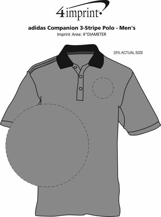 Imprint Area of adidas Companion 3-Stripe Polo - Men's