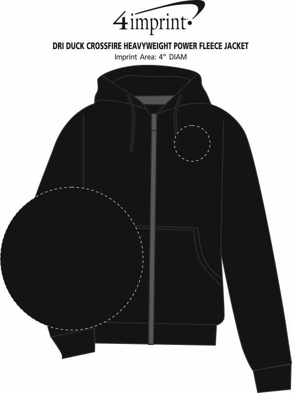 Imprint Area of DRI DUCK Crossfire Heavyweight Power Fleece Jacket