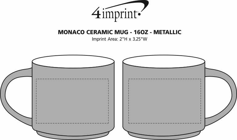 Imprint Area of Monaco Ceramic Mug - 16 oz. - Metallic