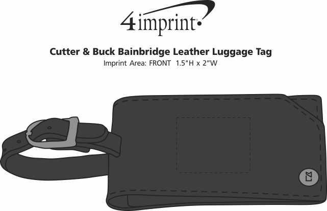 Imprint Area of Cutter & Buck Bainbridge Leather Luggage Tag