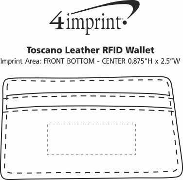 Imprint Area of Toscano Leather RFID Wallet