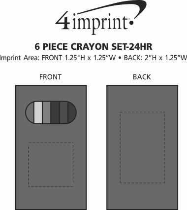 Imprint Area of 6 Piece Crayon Set - 24 hr