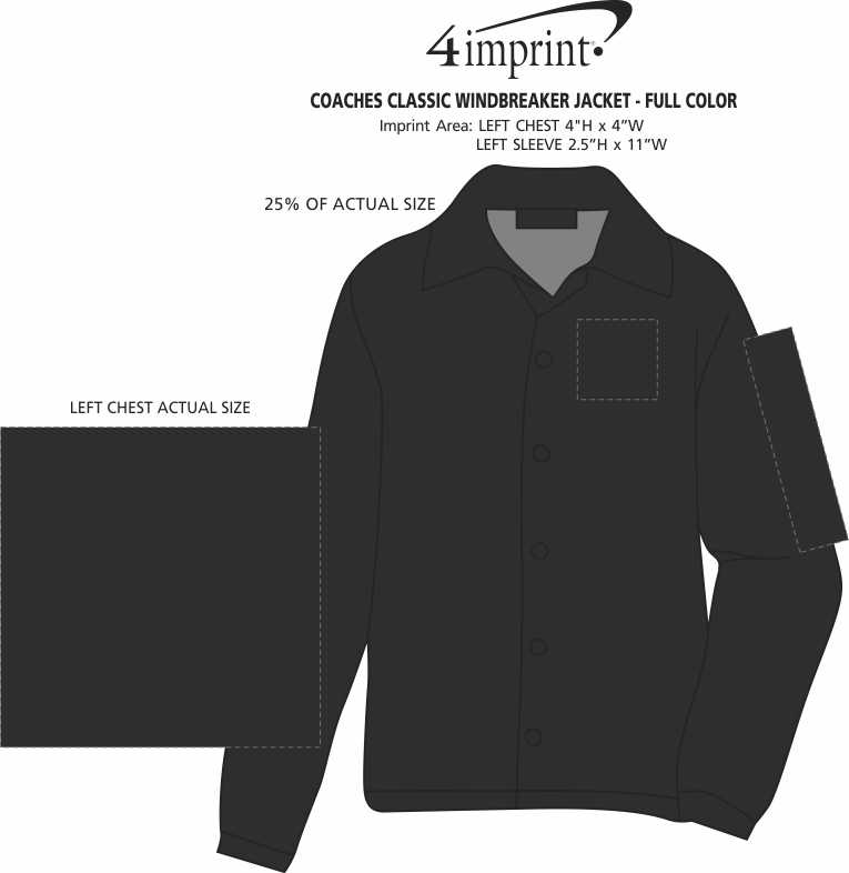 Imprint Area of Coaches Classic Windbreaker Jacket - Full Color
