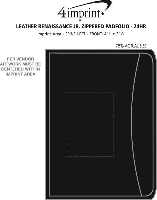 Imprint Area of Junior Zippered Portfolio - Leather - 24 hr