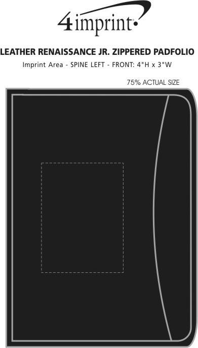 Imprint Area of Junior Zippered Portfolio - Leather