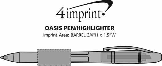 Imprint Area of Oasis Pen/Highlighter