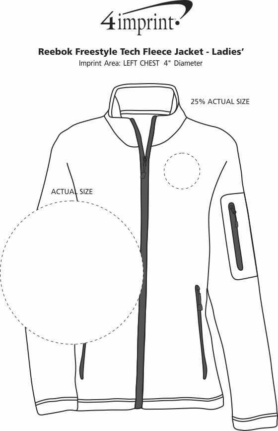 Imprint Area of Reebok Freestyle Tech Fleece Jacket - Ladies'