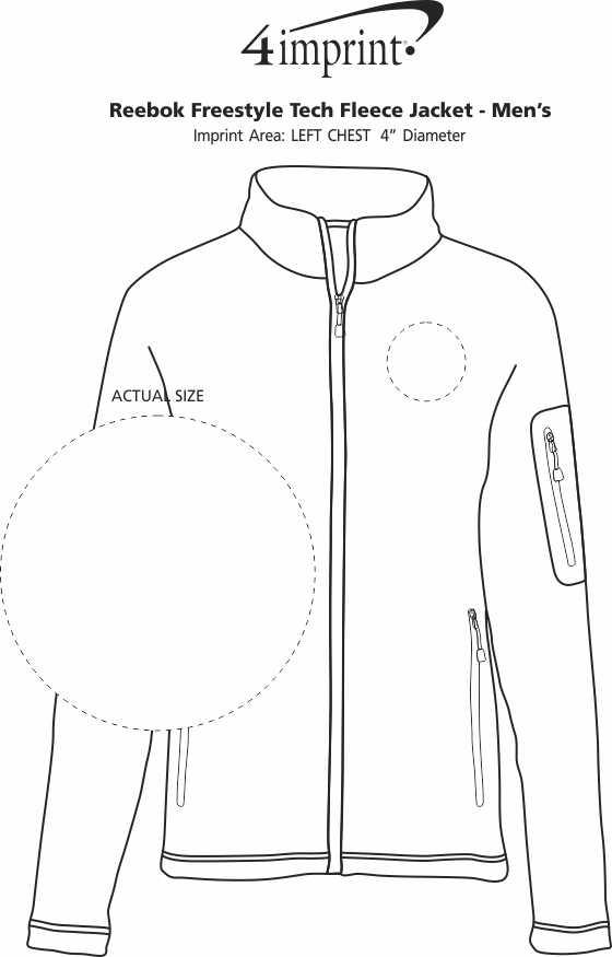 Imprint Area of Reebok Freestyle Tech Fleece Jacket - Men's