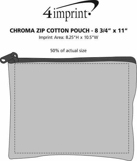 "Imprint Area of Chroma Zip Cotton Pouch - 8-3/4"" x 11"""