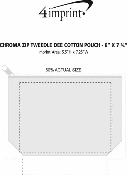 "Imprint Area of Chroma Zip Tweedle Dee Cotton Pouch - 6"" x 7-3/4"""