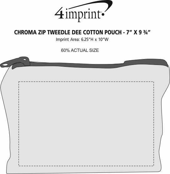 "Imprint Area of Chroma Zip Tweedle Dum Cotton Pouch - 7-3/4"" x 10-1/2"""