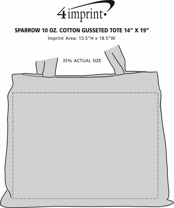 "Imprint Area of Sparrow 10 oz. Cotton Gusseted Tote - 14"" x 19"""