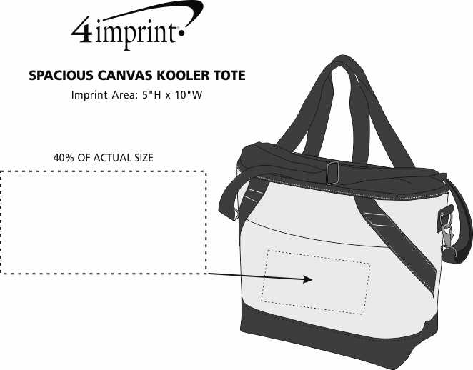 Imprint Area of Spacious Canvas Kooler Tote