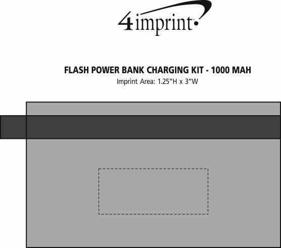 Imprint Area of Flash Power Bank Charging Kit - 1000 mAh