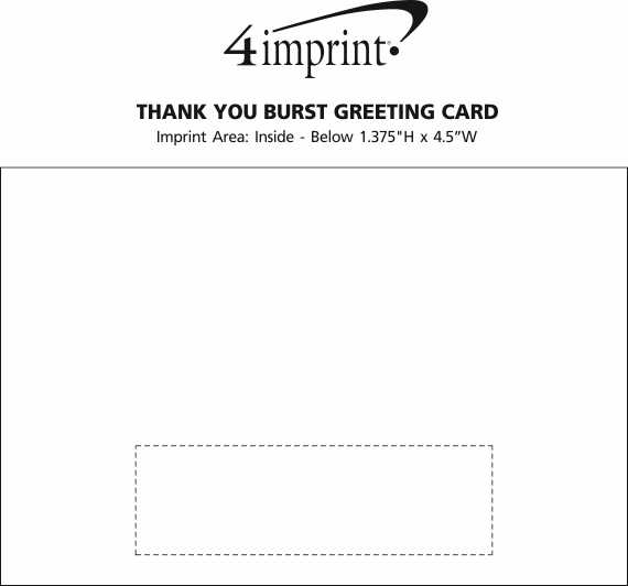 Imprint Area of Thank You Burst Greeting Card