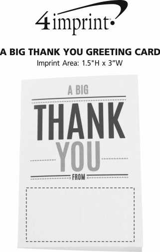Imprint Area of A Big Thank You Greeting Card