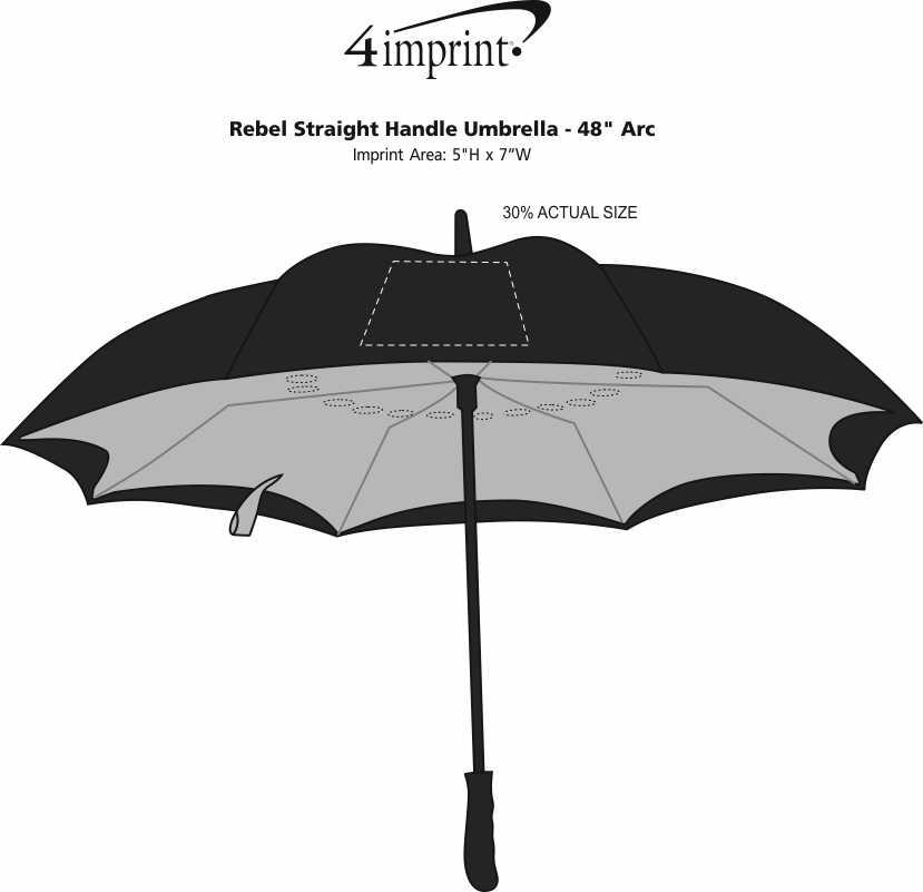 "Imprint Area of Rebel Straight Handle Umbrella - 48"" Arc"