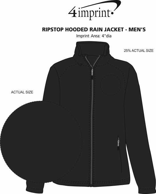 Imprint Area of Ripstop Hooded Rain Jacket - Men's