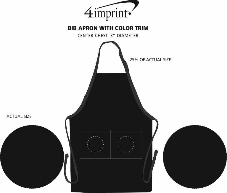 Imprint Area of Bib Apron with Color Trim