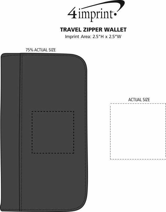 Imprint Area of Travel Zipper Wallet