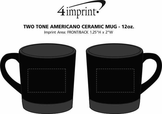 Imprint Area of Two Tone Americano Coffee Mug - 12 oz.