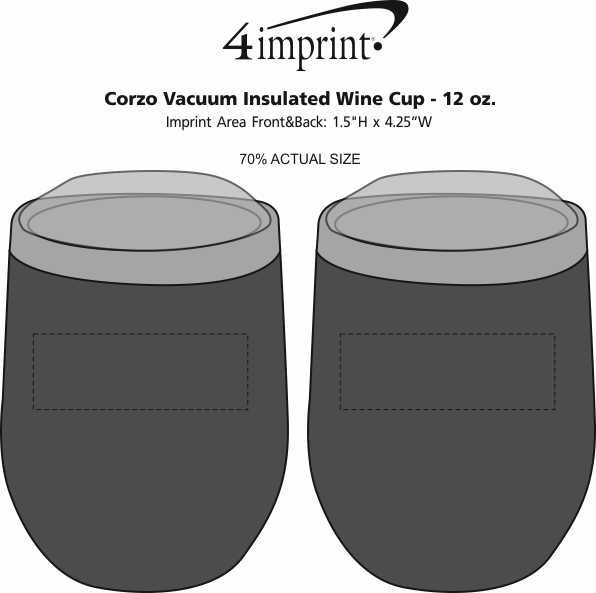 Imprint Area of Corzo Vacuum Insulated Wine Cup - 12 oz.