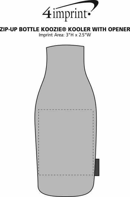 Imprint Area of Zip-up Bottle Koozie® Kooler with Opener